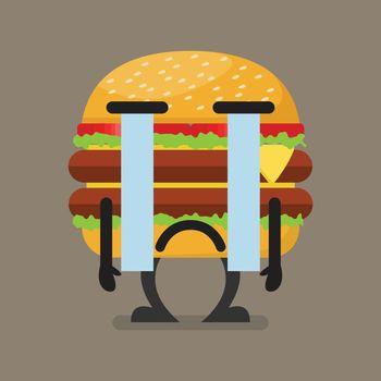Burger character crying