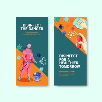 flyer or leaflet design disinfection with spraying,cleaning,washing and disinfectant protect virus,bacteria