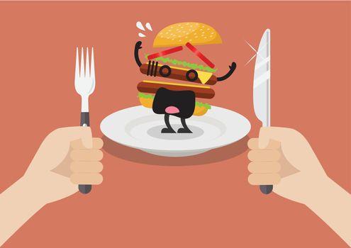 Man prepare to eat scared burger