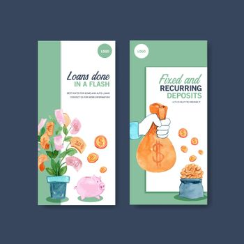 Flyer design with finance,business,currency and banking watercolorillustration.