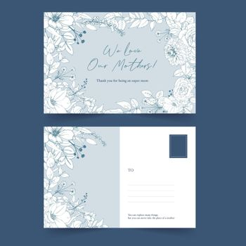 Line flower postcard design with one line floral drawing for congratulation,letter,invitation.