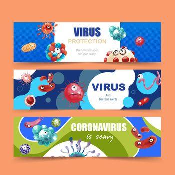 Virus banner design with virus cartoon vector illustration.