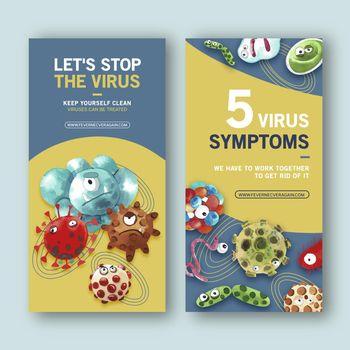 Flyer design with watercolor painting of coronavirus, Ebola virus illustration
