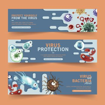 Banner design with watercolor painting of various viruses illustration