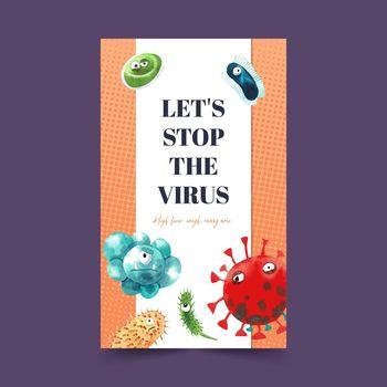 Virus poster design with watercolor painting of cartoon virus illustration.