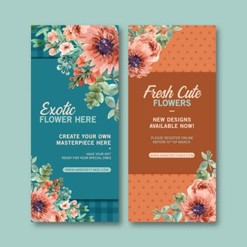 Retro style floral ember glow bouquet design with watercolor painting of flower illustration