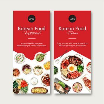 Korean food flyer design with bibimbap watercolor illustration.