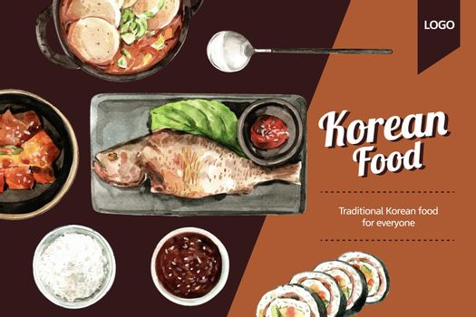 Korean food frame design with fish, kimchi watercolor illustration.
