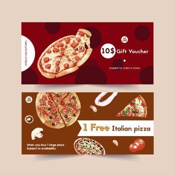 Pizza voucher design with tomato, garlic, ingredient water illustration