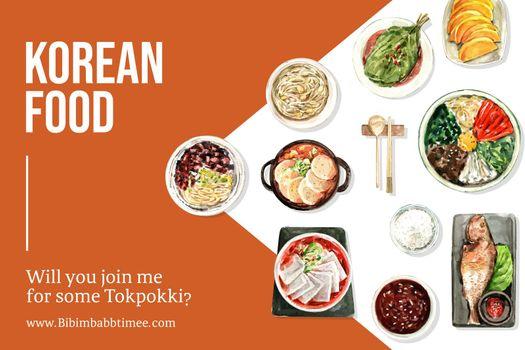 Korean food frame design with ddukbokki, bibimbap watercolor illustration.