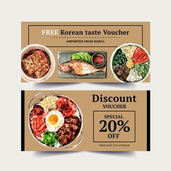 Korean food voucher design with fish, bibimbap watercolor illustration.