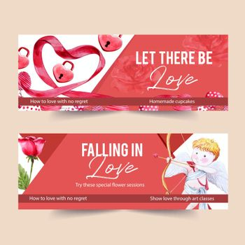 Love banner design with ribbon, key, cupid watercolor illustration