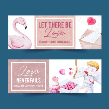 Love banner design with flamingo, letter, cupid watercolor illustration