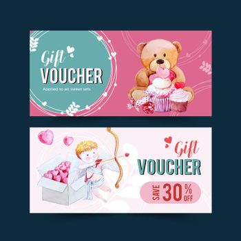 Love voucher design with teddy bear, cupid watercolor illustration.