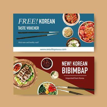 Korean food voucher design with bibimbap, ramyeon watercolor illustration.