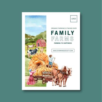 Farmer poster design with horse, dairy cattle watercolor illustration.