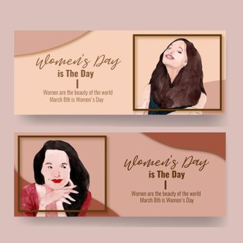 Women day banner design with women watercolor illustration.