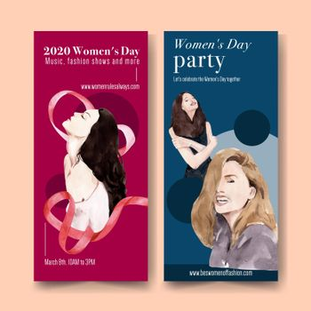 Women day flyer design with women watercolor illustration.