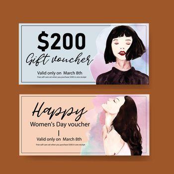 Women day voucher design with women watercolor illustration.