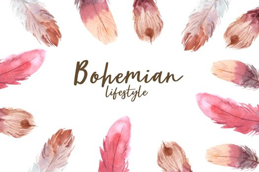 Bohemian frame design with feathers watercolor illustration.