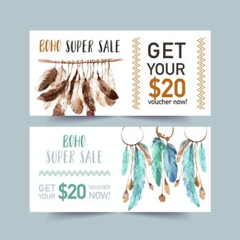 Bohemian voucher design with feathers watercolor illustration.