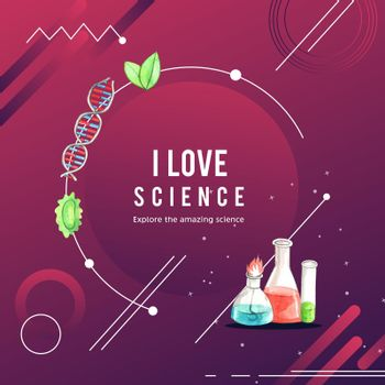 Science wreath design with test tube, glass flask watercolor illustration,