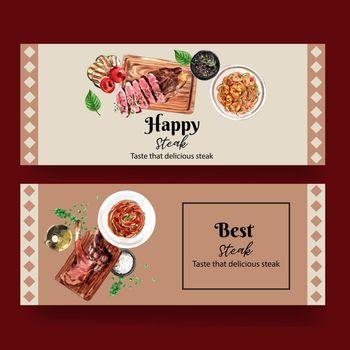 Steak banner design with spaghetti, steak watercolor illustration.