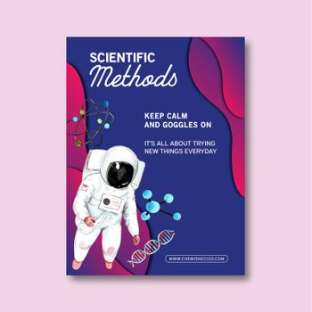 Science poster design with astronaut, molecule watercolor illustration.