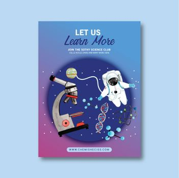 Science poster design with microscope, astronaut watercolor illustration.