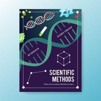 Science poster design with test tube, cell watercolor illustration.