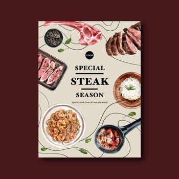 Steak poster design with spaghetti, steak watercolor illustration.