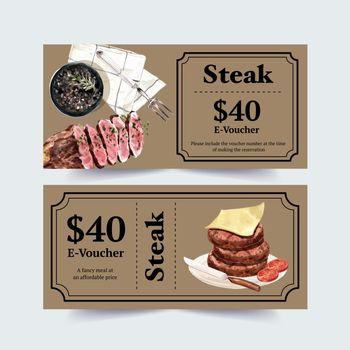 Steak voucher design with cheese, steak watercolor illustration.