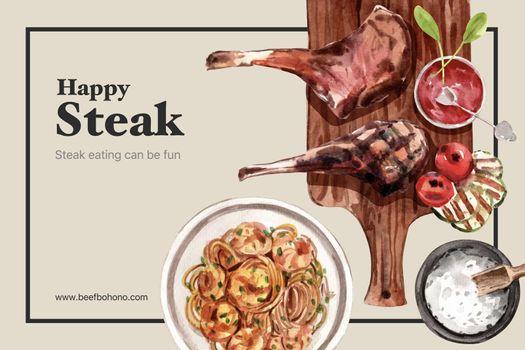 Steak frame design with spaghetti, steak watercolor illustration.