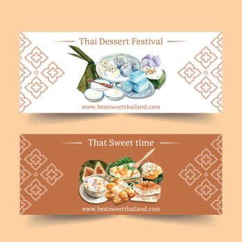 Thai sweet banner design with thai pudding, layered jelly illustration watercolor.