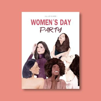 Women day poster design with women  watercolor illustration