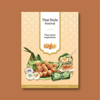 Thai sweet poster design with thai custard, pudding illustration watercolor.
