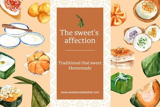 Thai sweet frame design with thai custard, pudding illustration watercolor.