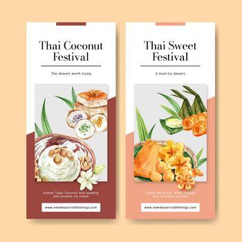 Thai sweet flyer design with thai custard, pudding illustration watercolor.