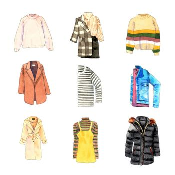 Various isolated watercolor trench coat, sweater illustration on white background.
