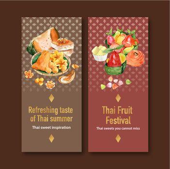 Thai sweet flyer design with thai custard, imitation fruits illustration watercolor.