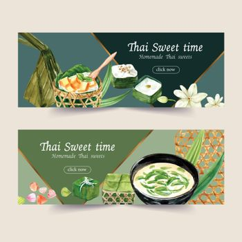 Thai sweet banner design with thai pudding illustration watercolor.