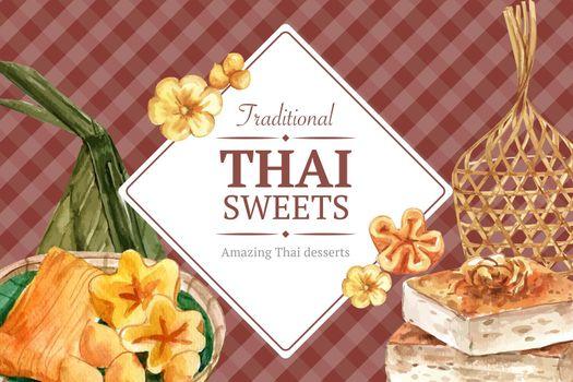 Thai sweet frame design with golden threads, thai custard illustration watercolor.