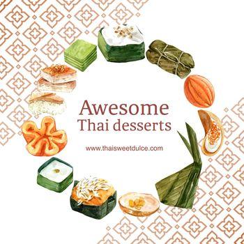 Thai sweet wreath design with thai custard, pudding illustration watercolor.