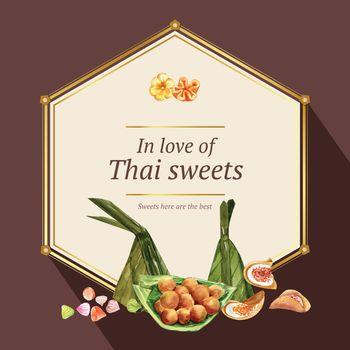 Thai sweet wreath design with thai crispy pancake illustration watercolor.