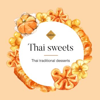 Thai sweet wreath design with thai sweets with meaning illustration watercolor.