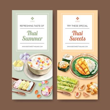 Thai sweet flyer design with sticky rice, thai crispy illustration watercolor.