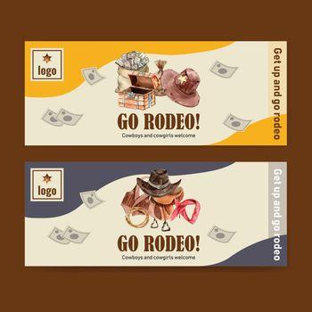 Cowboy banner design with vest, saddle, chest, money, headband watercolor illustration.
