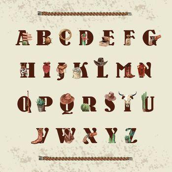 Cowboy alphabet design with cowboy outfit, equipment, cactus wat