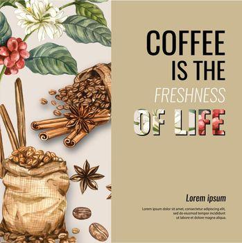 coffee arabica beans bag with coffee cup americano, cinnamon coffee maker watercolor illustration