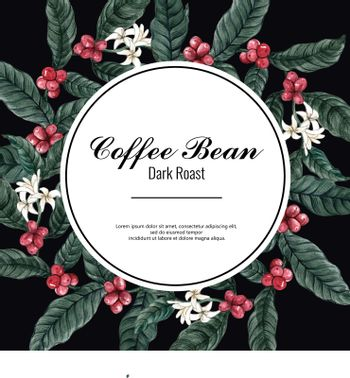 coffee arabica beans wreath design with brach leaves coffee, watercolor illustration